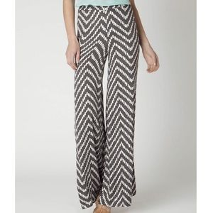 Anthropologie grey and white wide leg pants